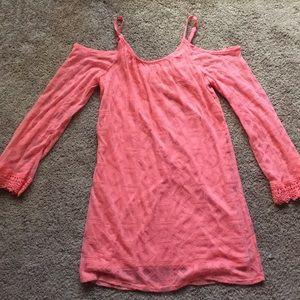 Xhilaration Lace Cold Shoulder pink dress